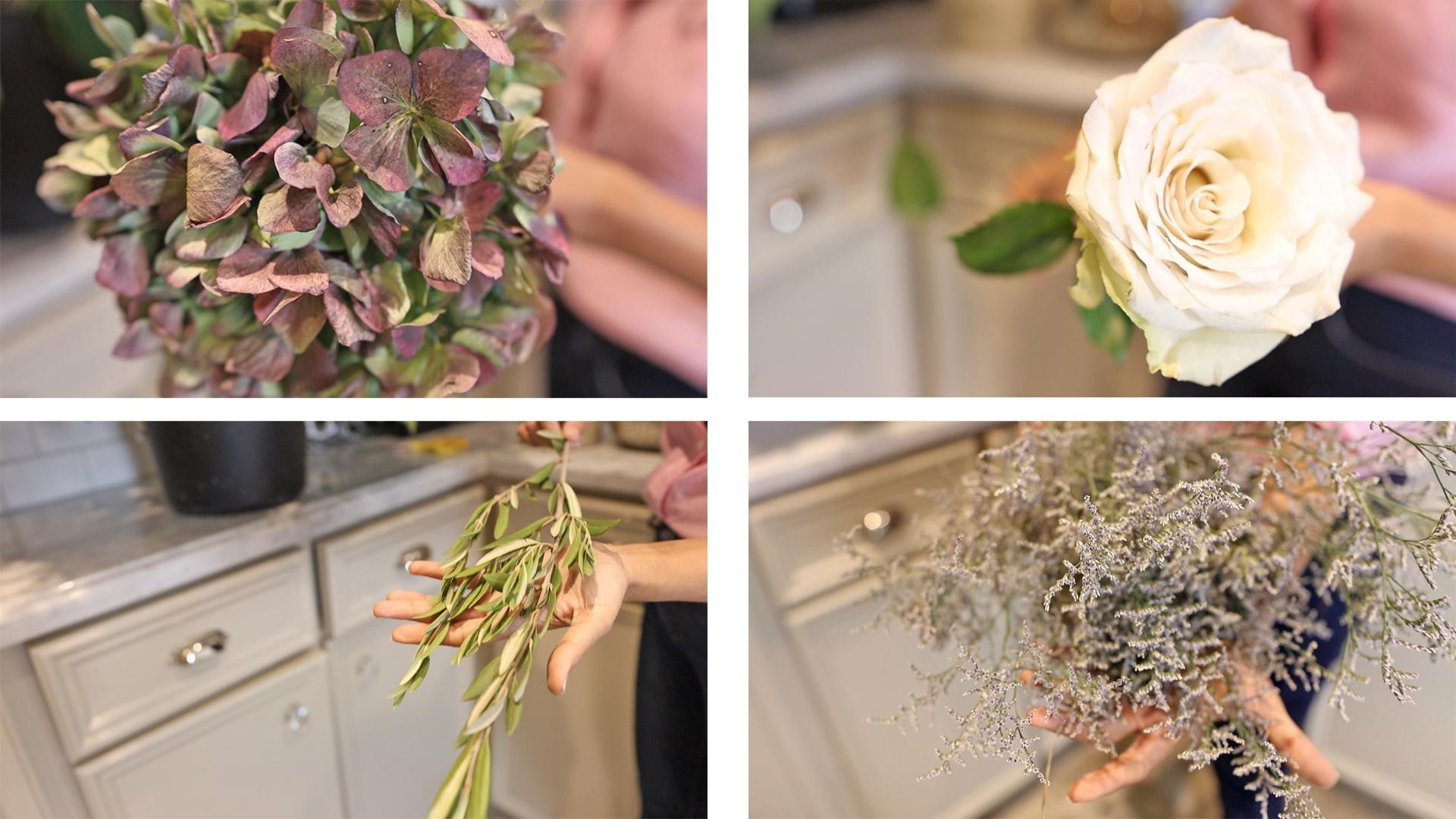 Amitha shows her favorite flowers for large arrangements, hydrangeas, roses, olive branches, and sea lavenders