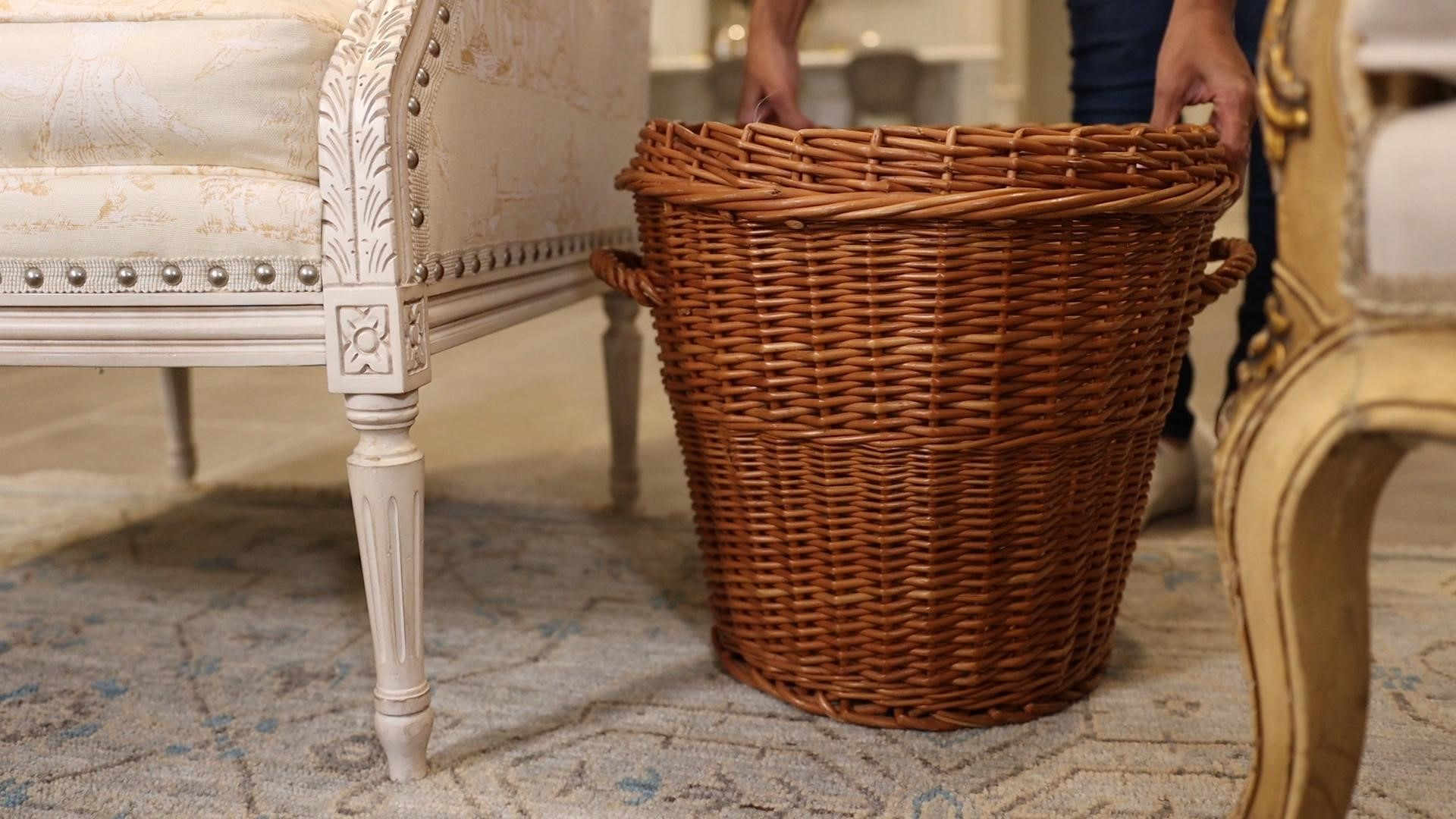 Large wicker honey ground basket in the family room