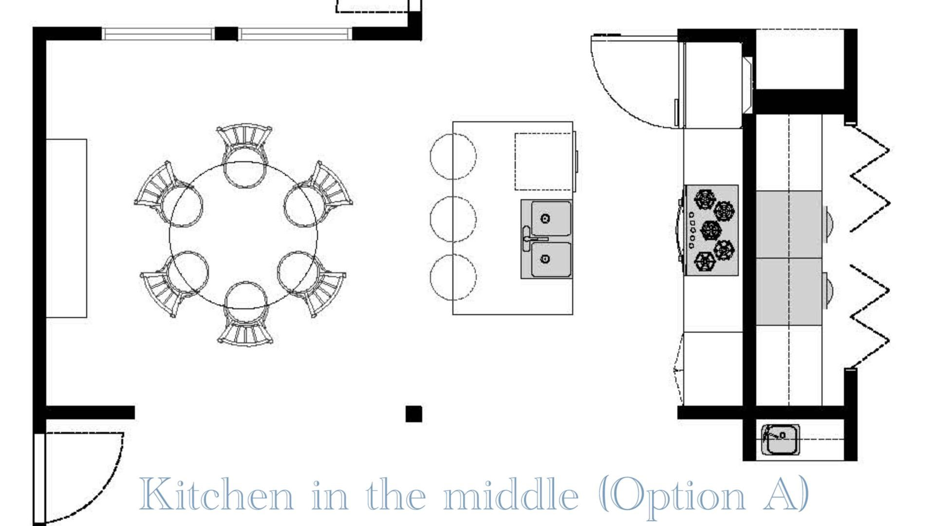 A mockup of the Kitchen In The Middle open concept floor plans design with a beam in the center for stability and removing the wall that blocks the family room.