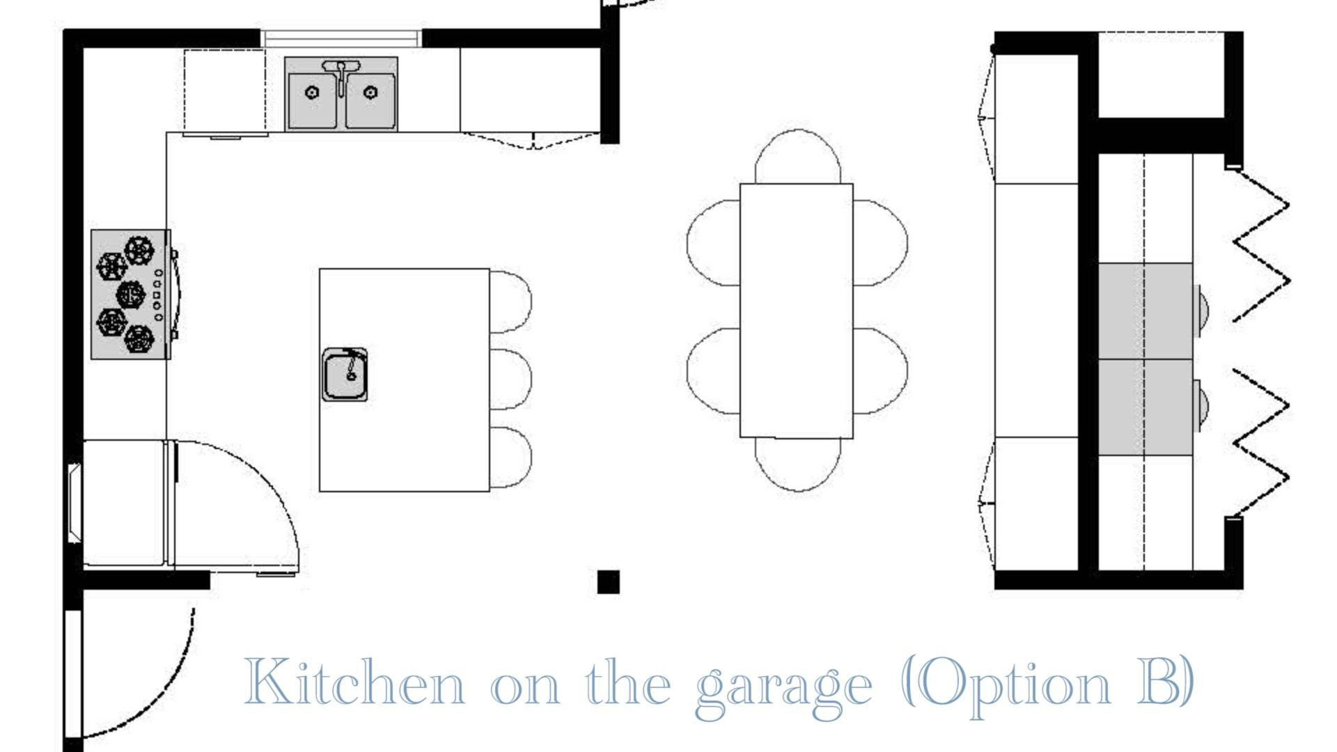 A mockup of the Option B open concept floor plans, which moves the kitchen area from the original home layout.