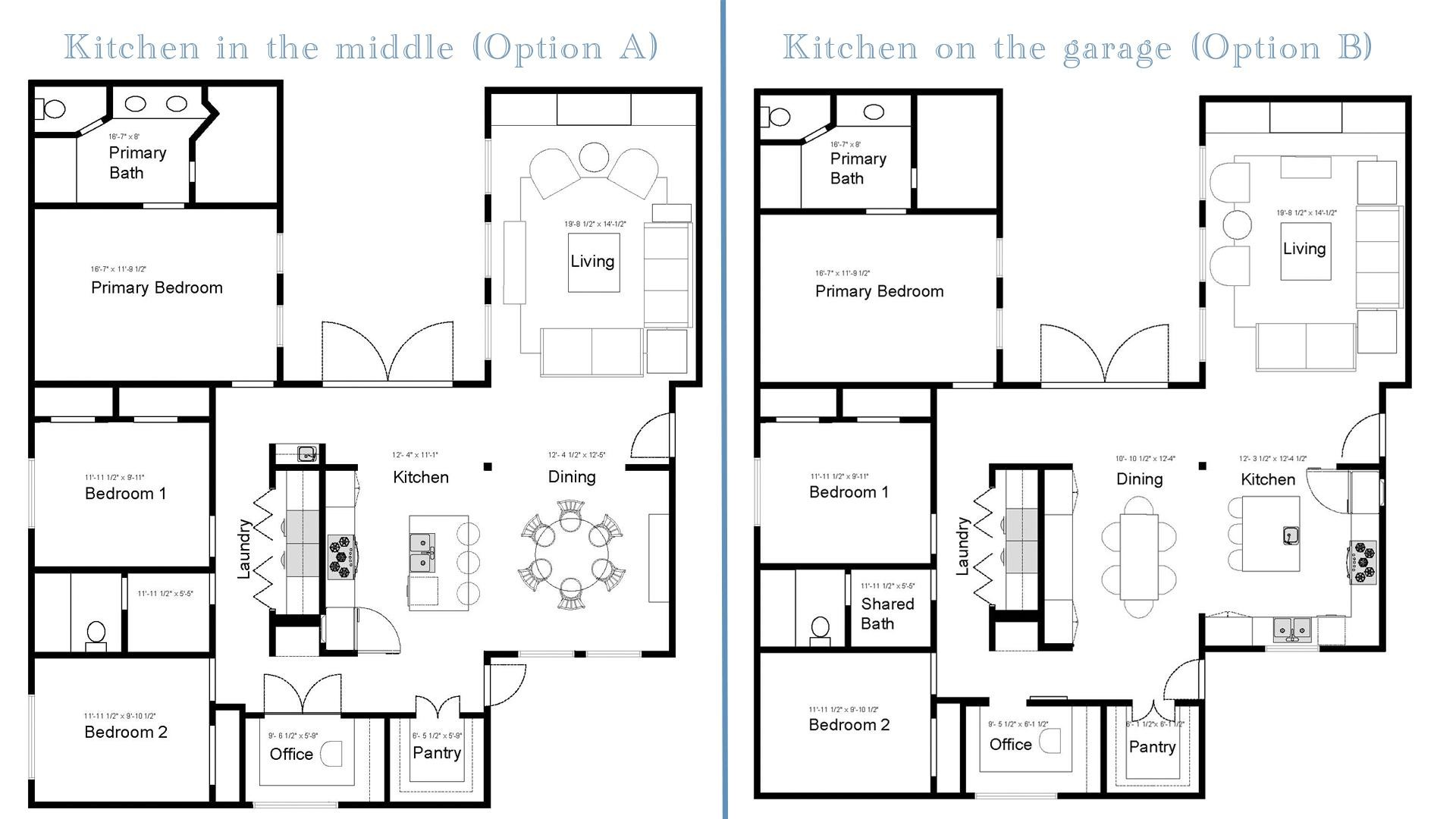 Side by the side comparison of the open concept floor plans for the kitchen renovation