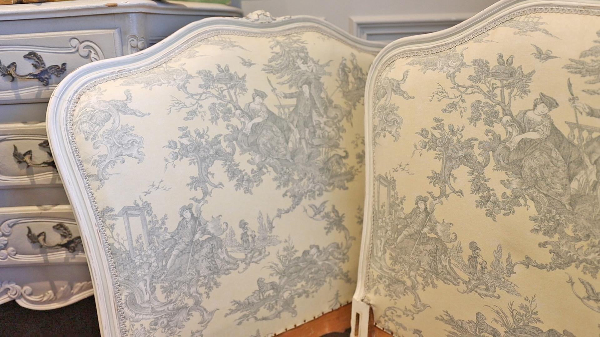 French country-style daybed with toile fabric in a cool gray and soft yellow color was the perfect antique decor find from Round Top shopping.