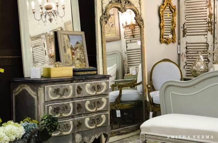 French country farmhouse decor pieces in an Antique Store in Houston showroom at Village Antiques
