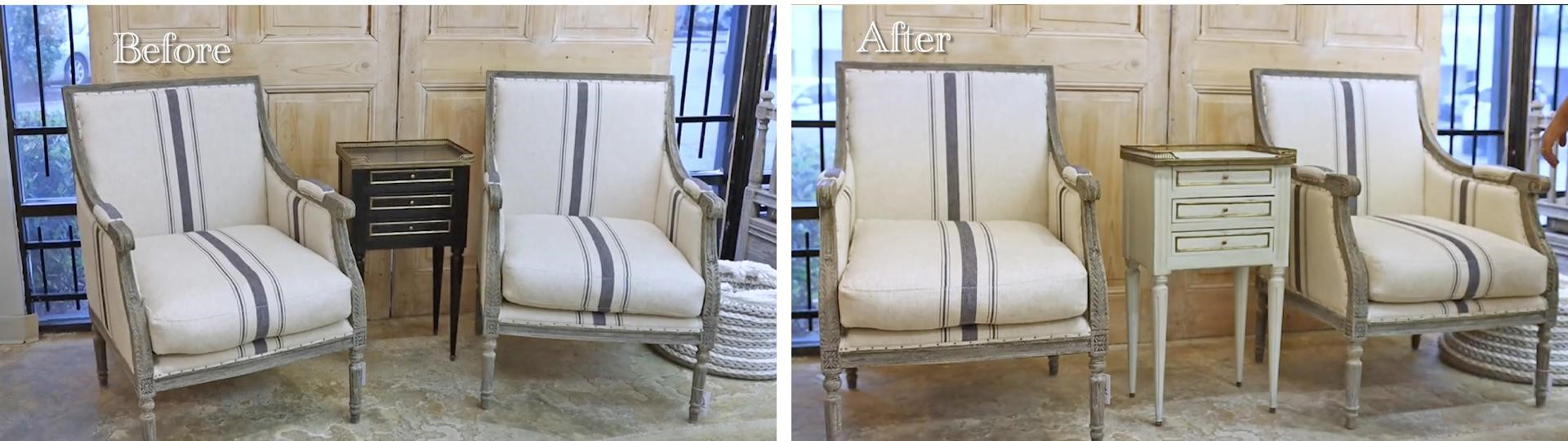 Before and after furniture transformation using Amitha Verma Chalk Finish Paint.