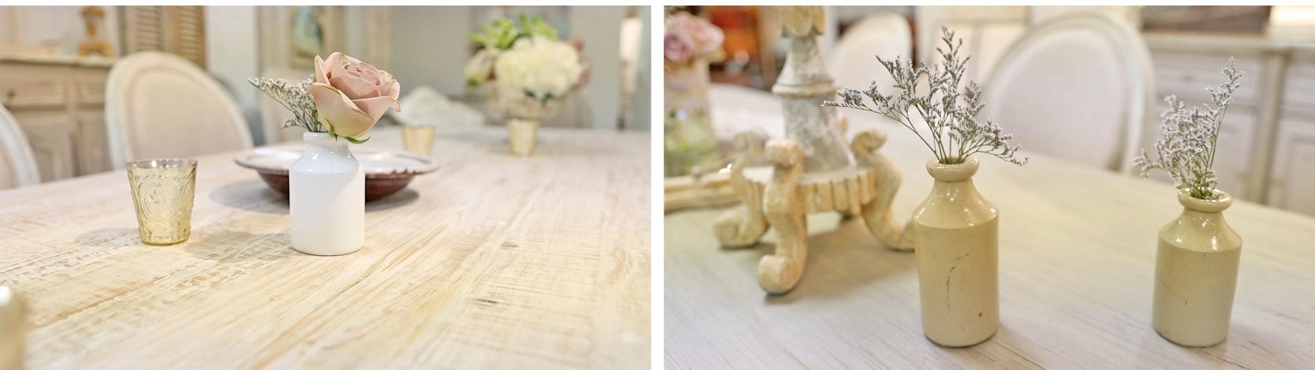 Displaying simple small floral arrangements on a rustic farmhouse dining table