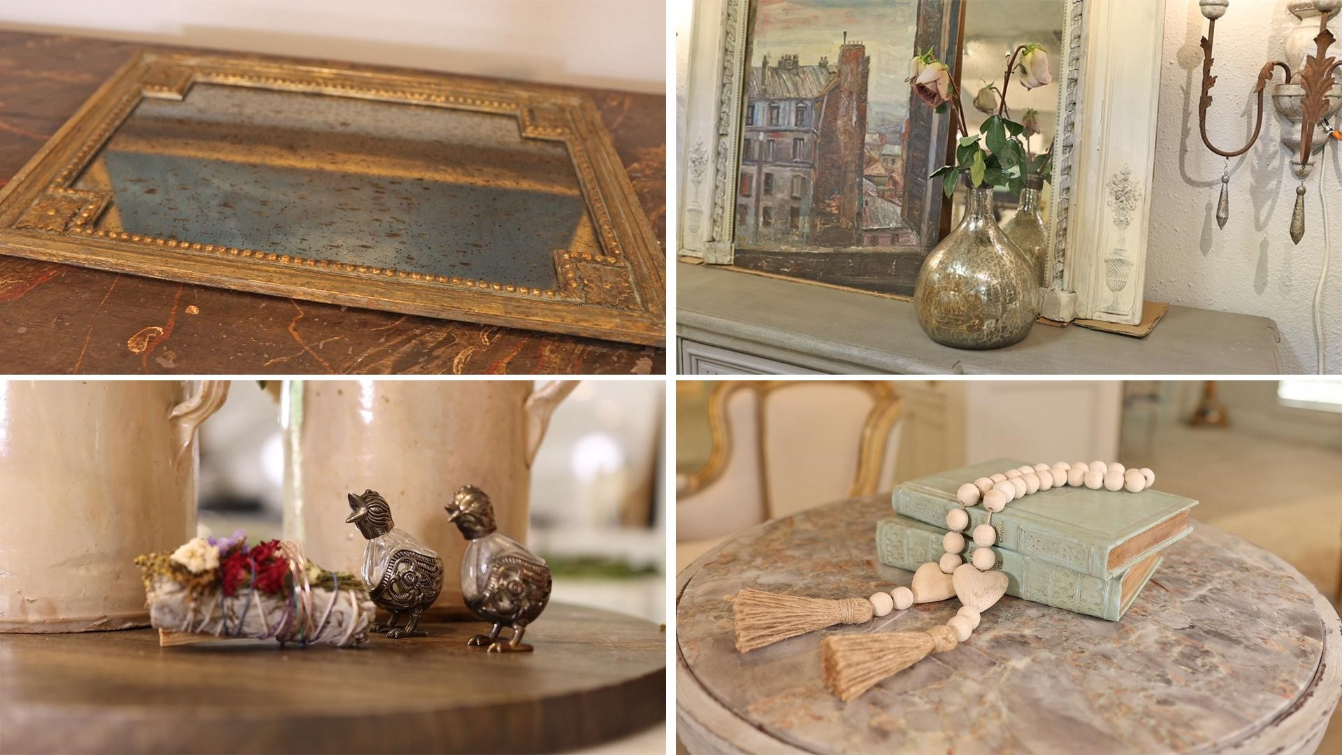 Assorted French country decor mirrored tray, vases, floral arrangements, salt shakers, and rosary beads layered in your home to add hints of Farmhouse meets glam.