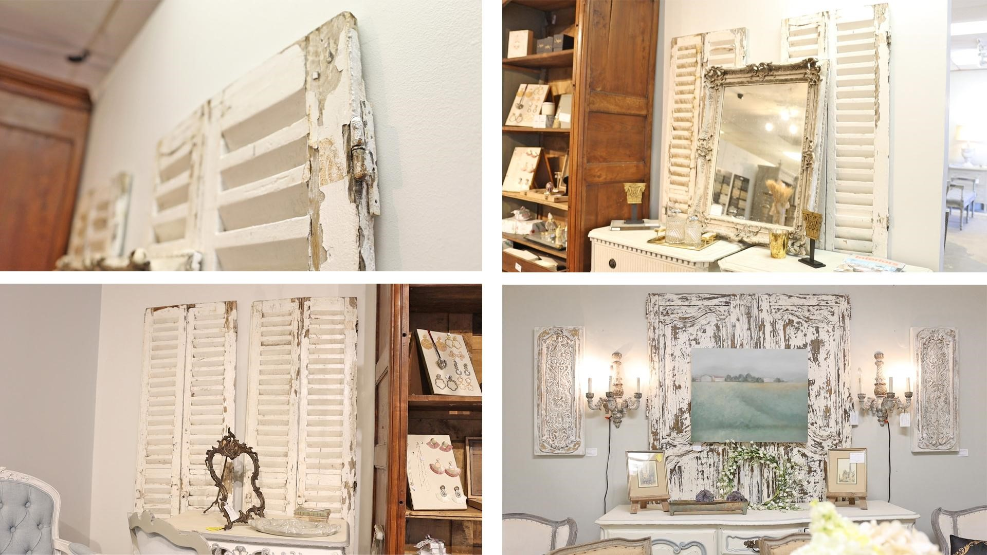 Add texture and interest to your space with distressed wood finishes like mirrors or antique shutters.