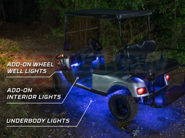 Ledglow S Expandable Million Color Golf Cart Underbody Light