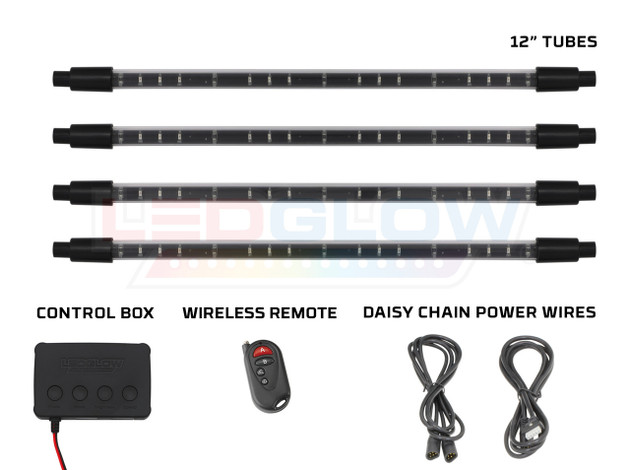 Green Expandable SMD LED Interior Tubes, Control Box, Wireless Remotes, & Daisy Chain Power Wires