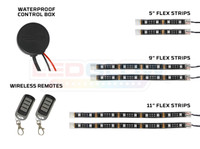 Advanced Pink Motorcycle SMD LED Flexible Strips, Waterproof Control Box, & Wireless Remotes