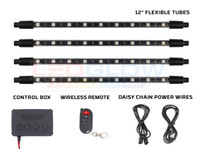 "12"" Flexible Million Color Pro Interior Tubes, Control Box, Wireless Remote & Daisy Chain Power Wires"