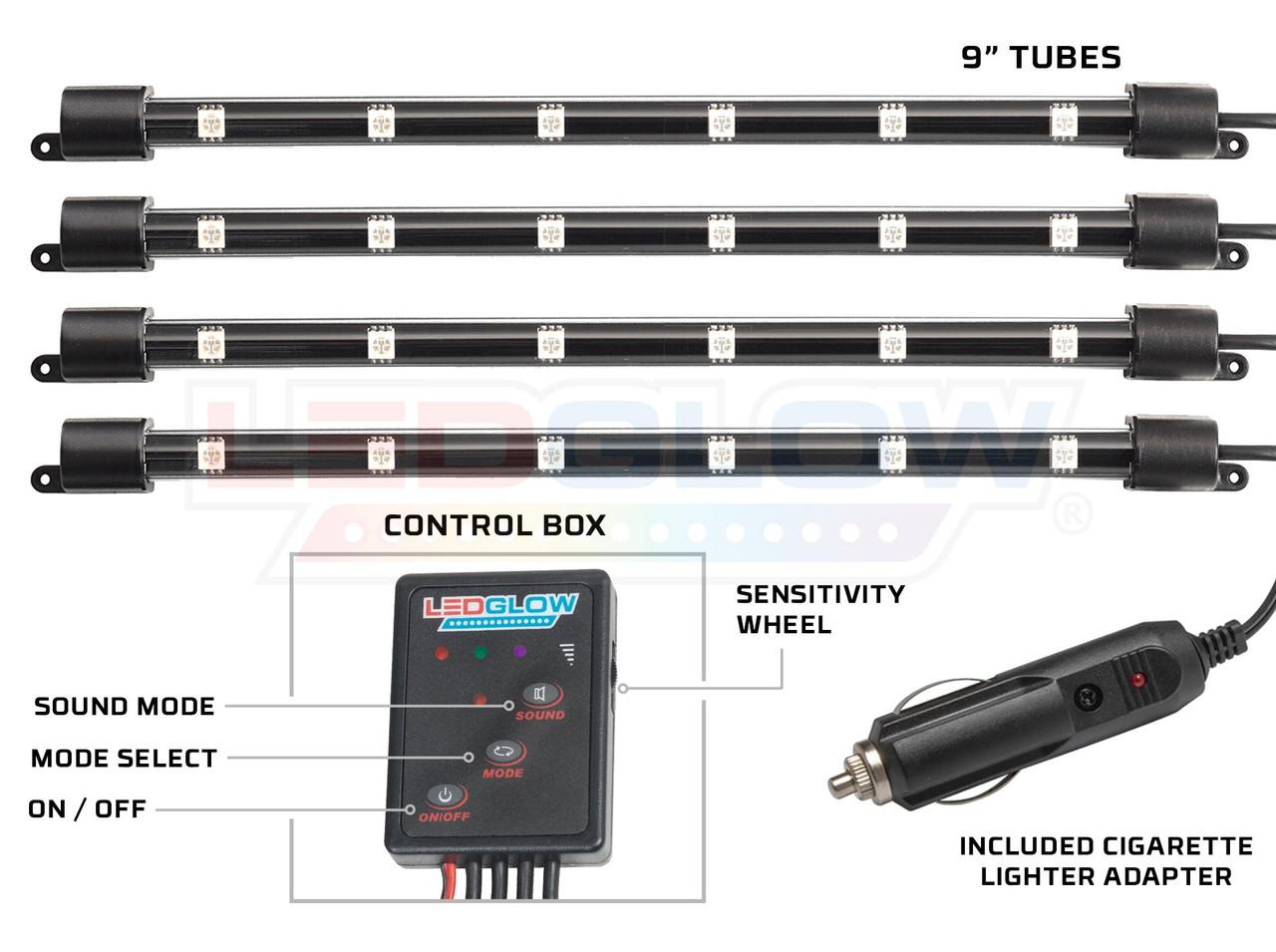 4pc 7 Color LED Car Interior Lights