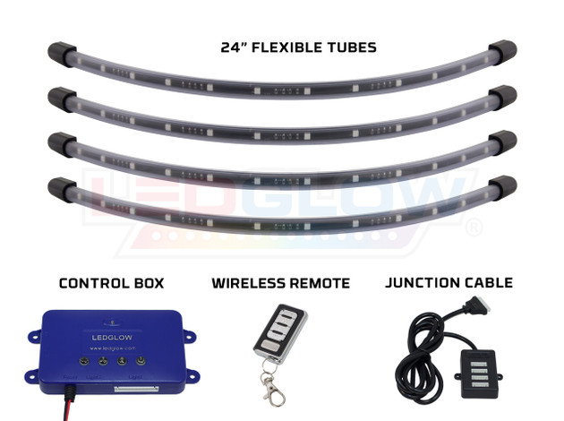 "Million Color 24"" Flexible Wheel Well Tubes, Control Box, Wireless Remote & Junction Cable"