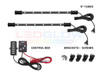 "2pc 9"" 7 Color Interior SMD LED Tubes, Control Box & Mounting Brackets and Screws"