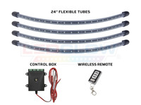 "Red Golf Cart LED Underbody Kit with (4) 24"" Flexible Tubes, Control Box & Wireless Remote"