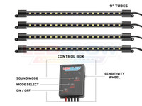 "4pc White 9"" LED Interior Tubes & Control Box"