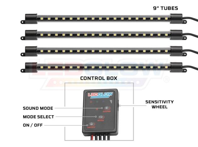 """4pc Orange 9"""" LED Interior Tubes & Control Box"""