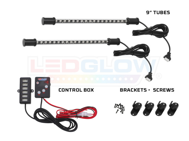 2pc Expandable Red LED Tubes, Control Box & Mounting Hardware