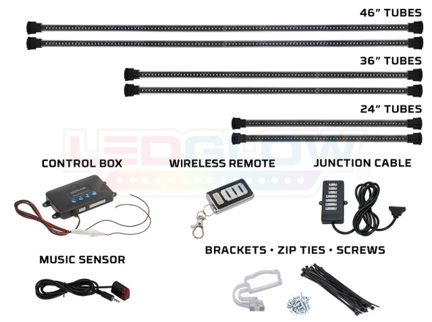 6pc Million Color Wireless SMD Truck Underbody Lighting Tubes, Control Box, Wireless Remote, Junction Cable, Music Sensor & Installation Accessories