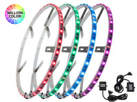 """4pc 15-1/2"""" Million Color LED Wheel Ring Light Add-On Kit with Junction Cables"""