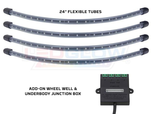 4pc Blue Flexible LED Wheel Well Lighting Add-On Kit