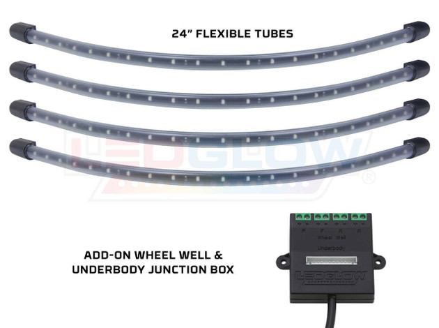 4pc White Flexible LED Wheel Well Lighting Add-On Kit