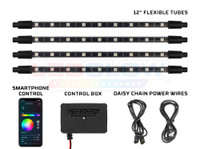 "4pc Million Color SMD LED Interior Light Kit with Smartphone Control, Bluetooth Control Box & 12"" Tubes"