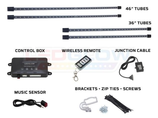 4pc Amber Wireless SMD Underbody Tubes, Control Box, Wireless Remote, Junction Cable, Music Sensor & Installation Accessories