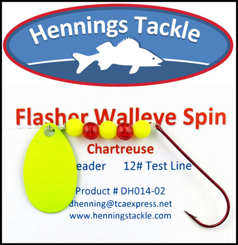 Flasher Walleye Spins - Chartreuse