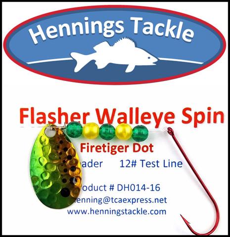 Flasher Walleye Spins - Firetiger Dot