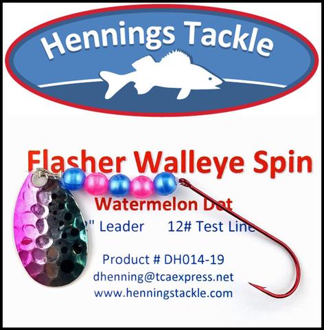 Flasher Walleye Spins - Watermelon Dot