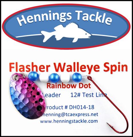 Flasher Walleye Spins - Rainbow Dot