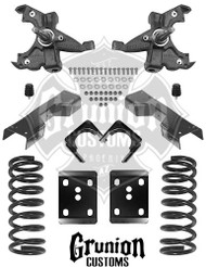 "Chevy C1500 4/6"" Lowering Kit, Front Drop Coils and Spindles, Rear Axle Flip Kit and  C-Notch"