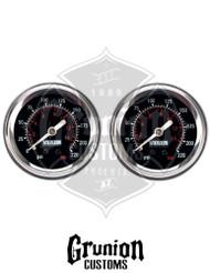 """Viair Air Pressure Gauges 2"""" BLACK Face Single Needle 220 PSI 2 Pack 90090"""