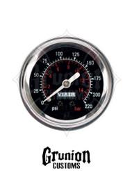 """Viair Air Pressure Gauge 2"""" BLACK Face Single Needle 220 PSI 90090"""