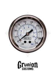 "Viair Air Pressure Gauge 2"" WHITE Face Single Needle 220 PSI 90089"