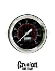 """Viair Air Pressure Gauge 1.5"""" BLACK Single Needle 160 PSI 90085"""