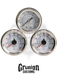 Viair Air Pressure Gauges Single & Dual Needle WHITE Face 90083 / 90087