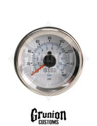 "Viair Air Pressure Gauge 2"" WHITE Dual Needle Air Ride Suspension 160 PSI 90083"