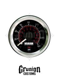 """Viair Air Pressure Gauge 2"""" BLACK Dual Needle 160 PSI 90082"""