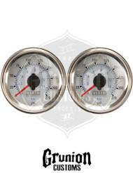"""Viair Air Pressure Gauges 2"""" WHITE Dual Needle 220 PSI 2 Pack 90081"""
