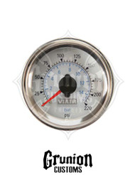 "Viair Air Pressure Gauge 2"" WHITE Dual Needle Air Ride Suspension 220 PSI 90081"