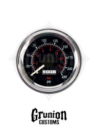 "Viair Air Pressure Gauge 2"" BLACK Dual Needle Air Ride Suspension 220 PSI 90080"