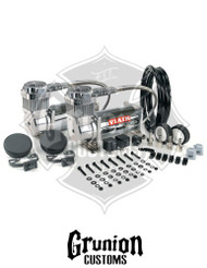Viair 380C Chrome Dual Pack Compresor Kit 200 PSI Train Horns Air Ride Bagged 38003