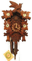 Rombach and Haas 1 Day Black Forest Birds with Painted Flowers Cuckoo Clock 1205P