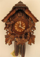Rombach and Haas 8 Day Black Forest Feeding Birds Chalet Cuckoo Clock 8207