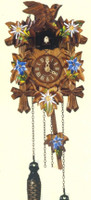 Schneider Quartz German Black Forest Bird with Painted Flowers Cuckoo Clock Q 70/10E