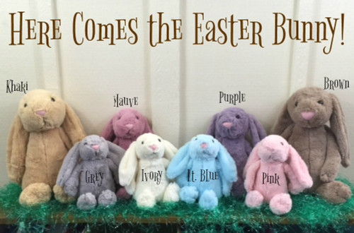 """Easter is right around the corner, so don't miss out on these adorable Easter Bunnies!! These bunnies are available in 3 sizes: Small, Medium, and Large.  The Medium bunny measures approximately 15.75"""" in length (head to toe measurement).  Its ears measure approximately 8"""" in length.  All 3 sizes are available in 8 different colors: light blue, grey, khaki, white, pink, brown, mauve, and purple."""