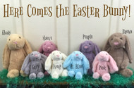 "Easter is right around the corner, so don't miss out on these adorable Easter Bunnies!! These bunnies are available in 3 sizes: Small, Medium, and Large.  The Large bunny measures approximately 19.5"" in length (head to toe measurement).  Its ears measure approximately 10"" in length.  All 3 sizes are available in 8 different colors: light blue, grey, khaki, white, pink, brown, mauve, and purple."