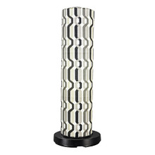 PatioGlo Electric Floor Lamp - White LED with New Twist Caviar Outdoor Pattern Fabic Lamp Shade